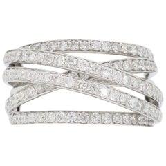 Negative Space Cross-Over Diamond Ring in 18 Karat White Gold