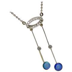 Negligee Necklace, Opal, Diamond, Platinum, Gold, Art Deco, 1920
