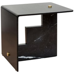 Negra Marquina Marble Huxley Side Table by Lawson-Fenning