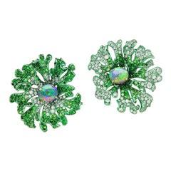 Neha Dani Black Opal, Tsavorite, Diamond Gold with Green Rhodium Jolene Earrings