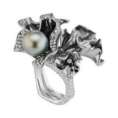 Neha Dani Black Tahitian Pearl, Diamonds with Grey Rhodium Finish Orabella Ring