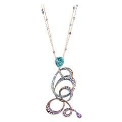 Neha Dani Blue Zircon with Sapphire, Tourmaline, Diamond Irene Necklace