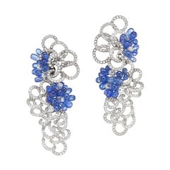 Neha Dani Briolettes of White Diamond and Blue Sapphire White Gold Talia Earring