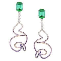 Neha Dani Cushion Cut Green Tourmaline Purple Sapphire White Gold Eonia Earrings