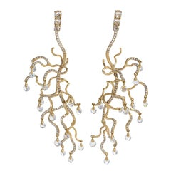 "Neha Dani Diamond and Gold ""Anemone"" Earrings"