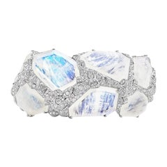 Neha Dani Diamond and Moonstone Aialik Cuff Bracelet