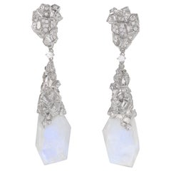 "Neha Dani Diamond and Moonstone ""Margerie"" Earrings"