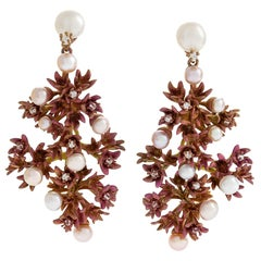"Neha Dani Diamond and Pearl ""Fiorella"" Earrings"