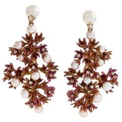 "Neha Dani Diamond and Pearl ""Fiorella"" Earrings"
