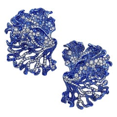 "Neha Dani Diamond and Sapphire ""Rhea"" Ear Clips"