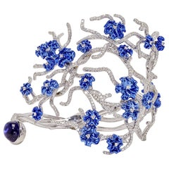"Neha Dani Diamond and Tanzanite ""Annali"" Cuff Bracelet"