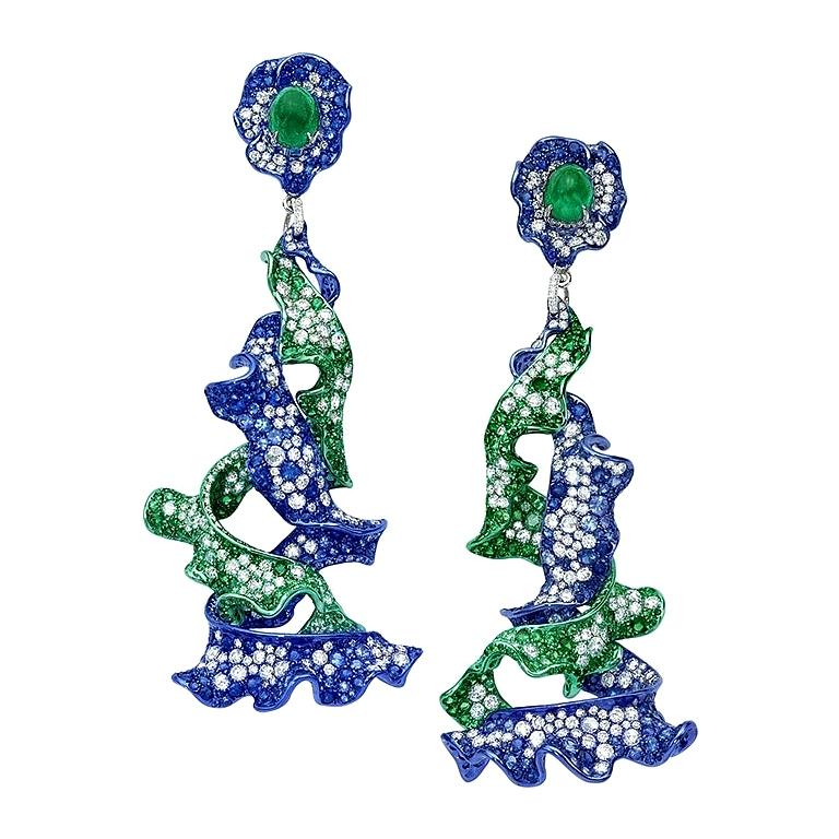 Neha Dani Diamond, Emerald, Tsavorite and Sapphire Parisa Earrings For Sale