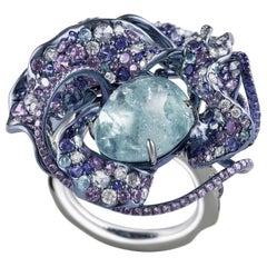 "Neha Dani Diamond, Paraiba and Sapphire Nuray ""Bright Moon"" Ring"
