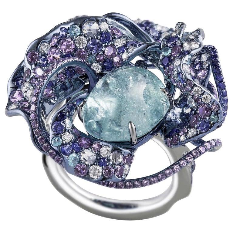 "Neha Dani Diamond, Paraiba and Sapphire Nuray ""Bright Moon"" Ring For Sale"