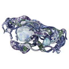 "Neha Dani Diamond, Water Opal, Tourmaline and Tsavorite ""Vruta"" Cuff Bracelet"