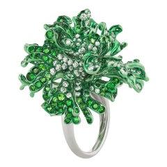 Neha Dani Diamonds and Tsavorite Set on Gold with Green Rhodium Finish Myra Ring