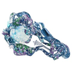 Neha Dani Mexican Opal, Diamond, Paraiba Tourmaline Titanium Vruta Cuff Bracelet