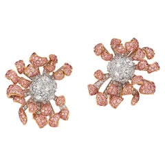 Neha Dani Pink and White Diamonds in White and Rose Gold Pink Chrys Earrings