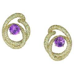 Neha Dani Purple Sapphire Green Demantoid Garnet Yellow Gold Kalon Clip Earrings