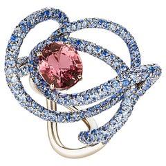 Neha Dani Reddish Pink Sapphire with Blue Sapphire White Gold Kephi Ring
