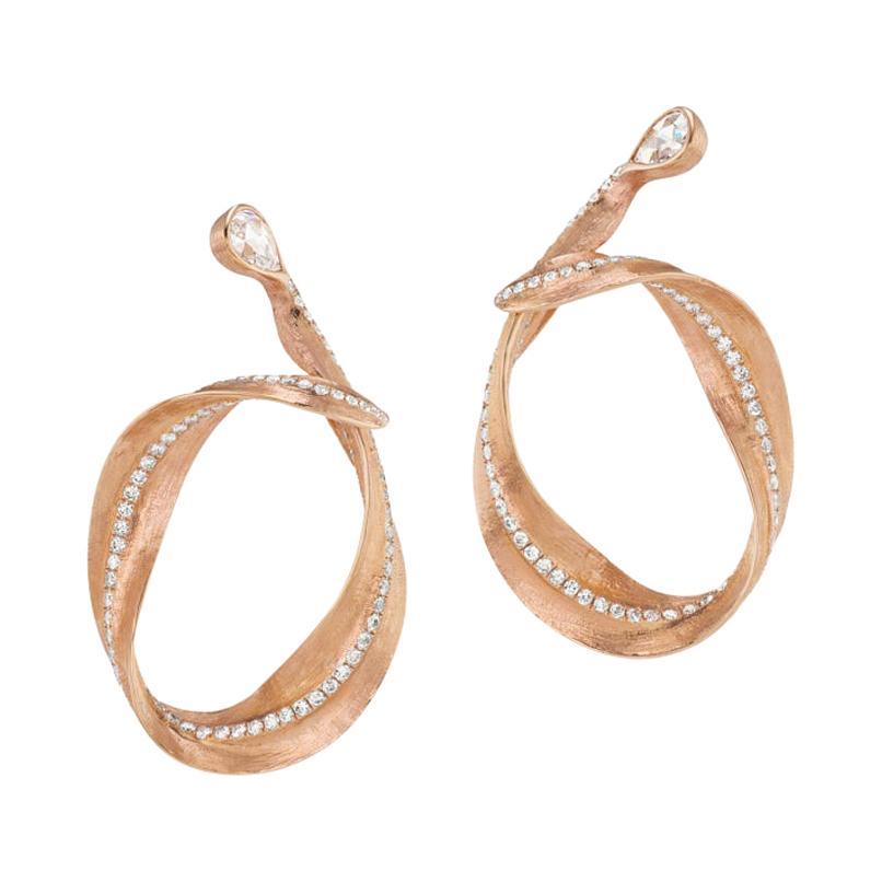 Neha Dani Rose Cut White Diamonds Set in 18K Rose Gold Callista Hoop Earrings