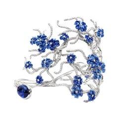 Neha Dani Tanzanite and Diamonds on Gold with Blue Rhodium Annali Cuff Bracelet