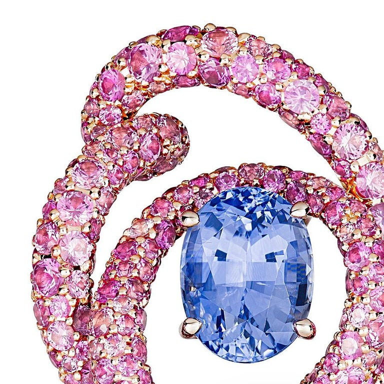 Contemporary Neha Dani Violet Sapphire flanked by Pink Sapphire Rose Gold Irita Clip Earrings For Sale