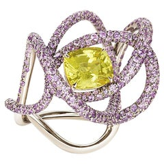 Neha Dani Yellow Natural Sapphire with Purple Sapphire White Gold Kephi Ring