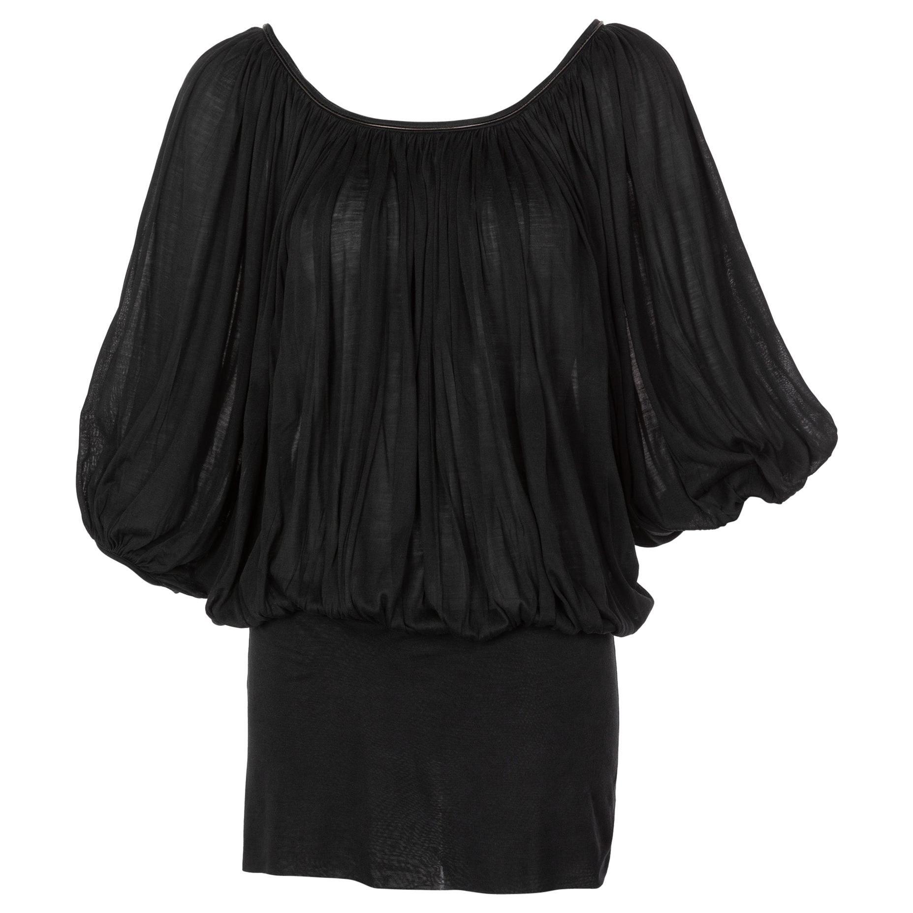 Neil Barrett Black Silk Metal Detail Silk Blouse Tunic Top, 2015
