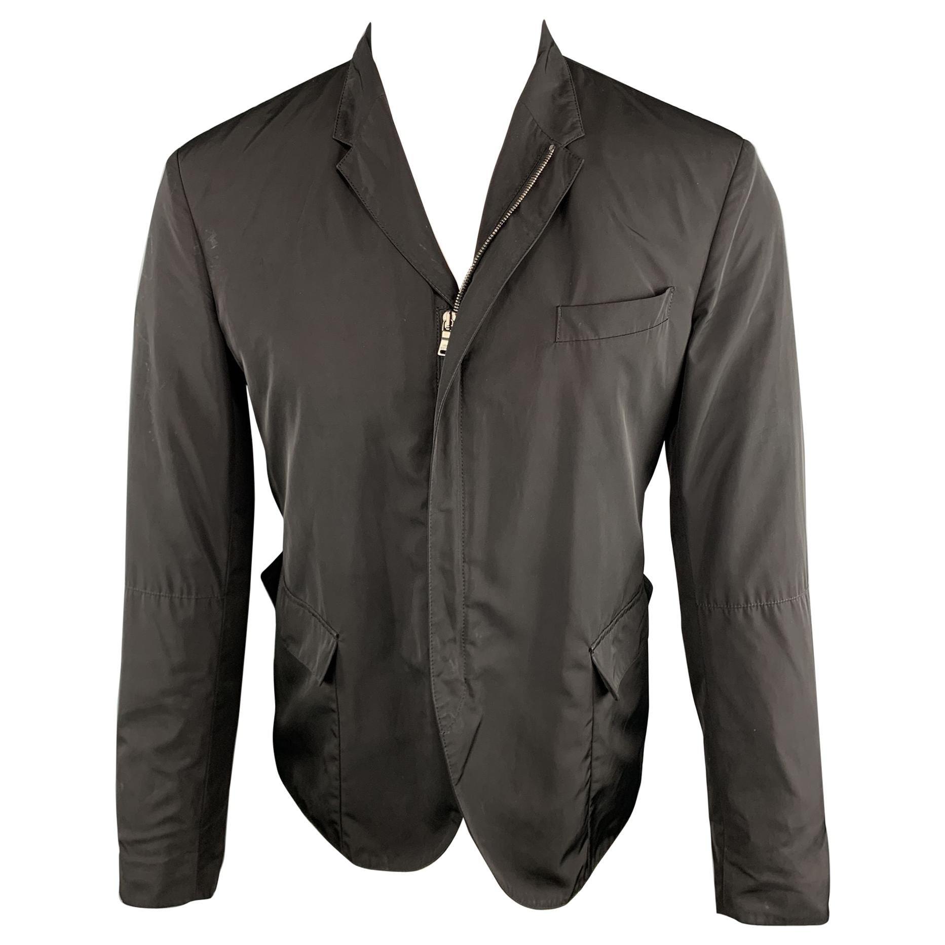 NEIL BARRETT Chest Size S Solid Black Polyester Full Zip Jacket