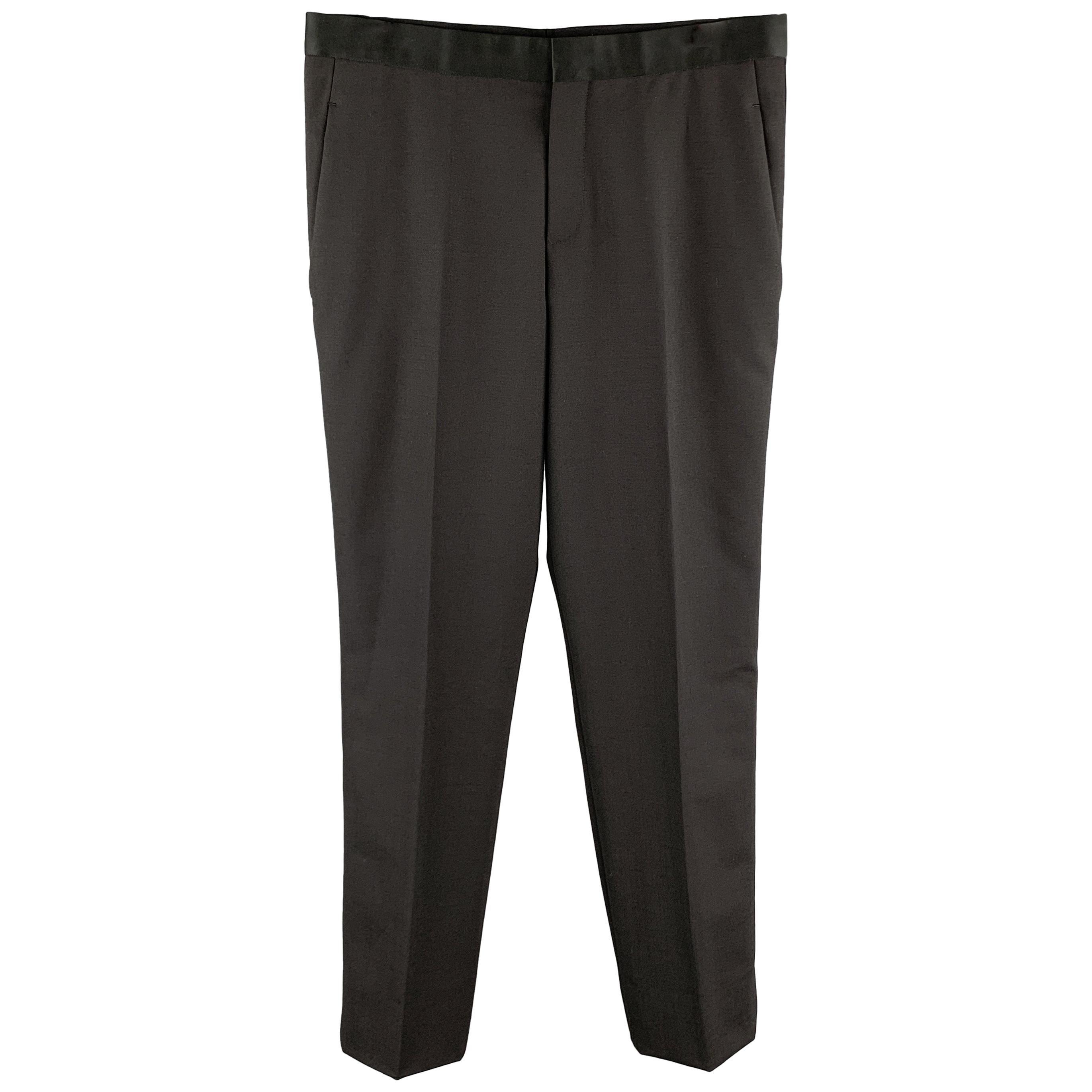 NEIL BARRETT F/W 17 Size 32 Black Solid Wool Blend Tuxedo Dress Pants