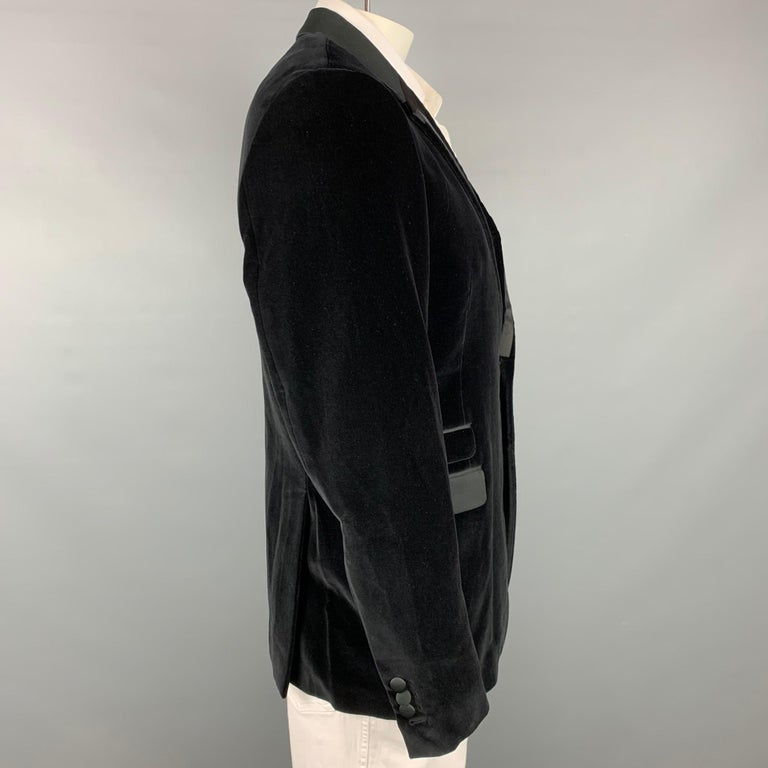 NEIL BARRETT Fitted Slim Size 42 Black Velvet Cotton Blend Notch Lapel In Good Condition For Sale In San Francisco, CA