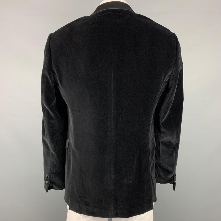 Men's NEIL BARRETT Fitted Slim Size 42 Black Velvet Cotton Blend Notch Lapel For Sale