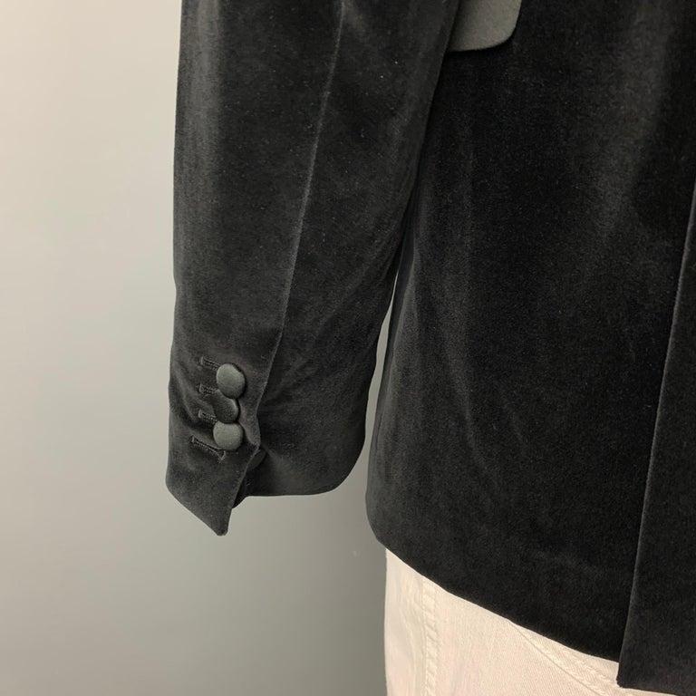 NEIL BARRETT Fitted Slim Size 42 Black Velvet Cotton Blend Notch Lapel For Sale 1
