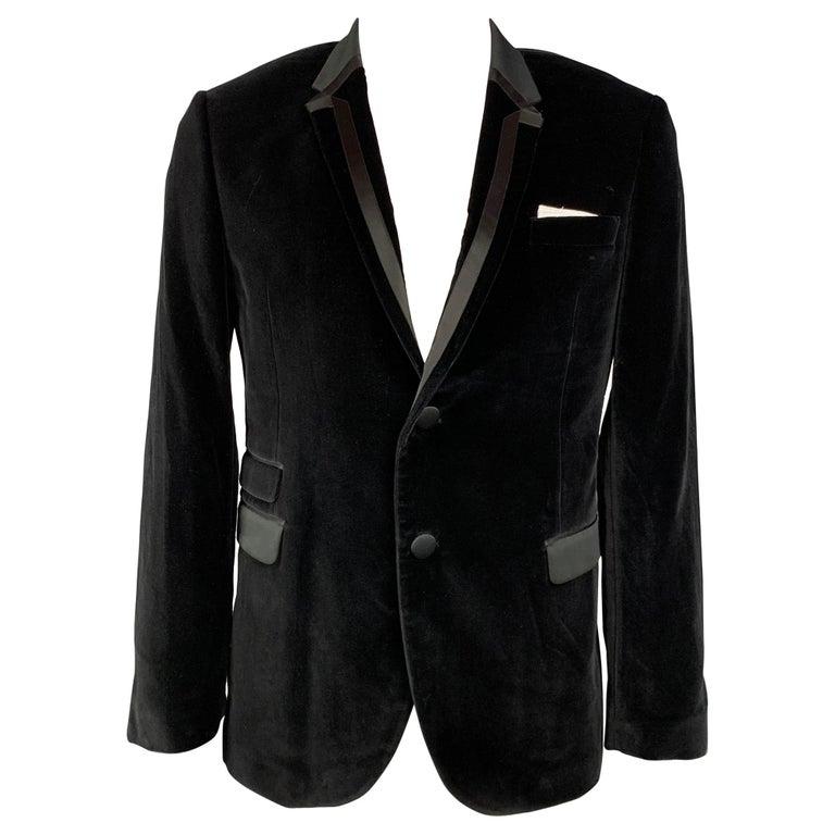 NEIL BARRETT Fitted Slim Size 42 Black Velvet Cotton Blend Notch Lapel For Sale