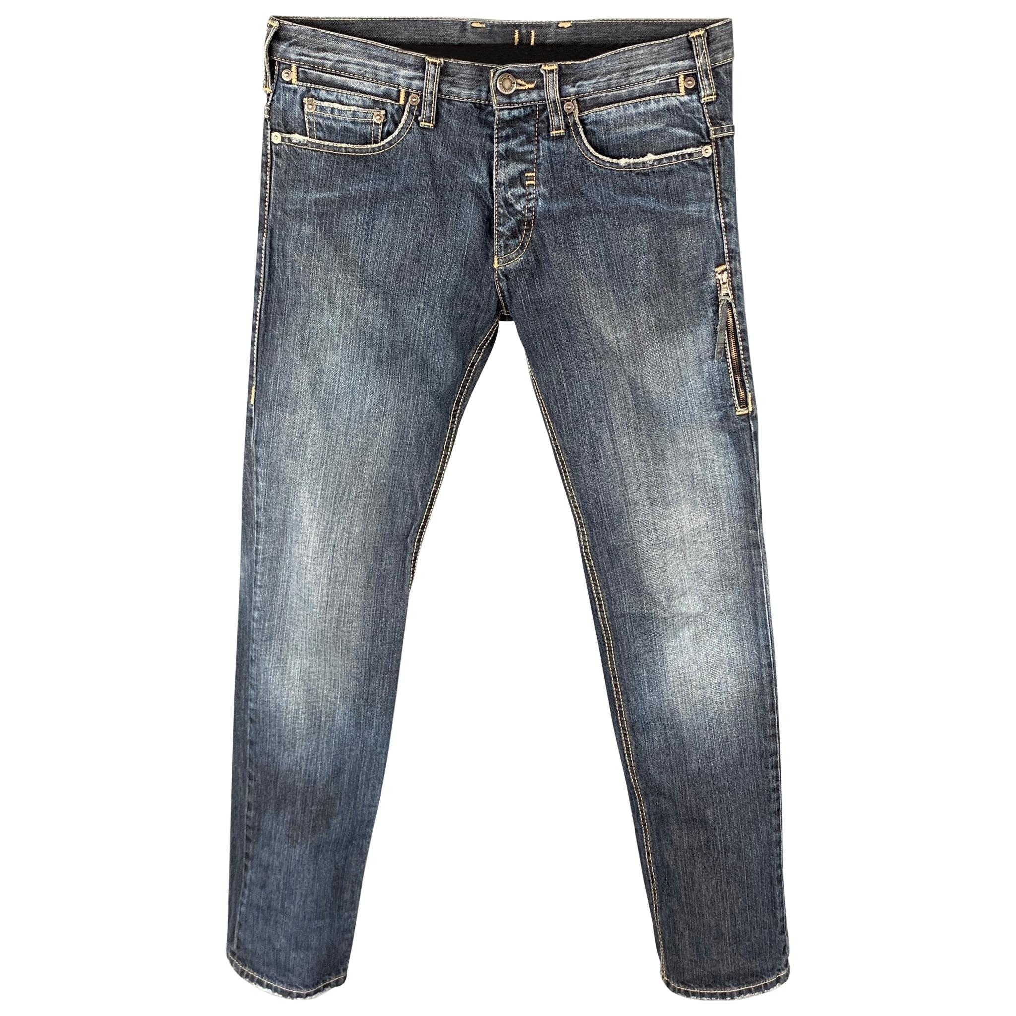 NEIL BARRETT Size 30 Indigo Distressed Denim Button Fly Jeans