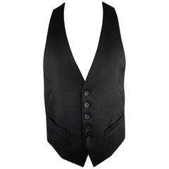 NEIL BARRETT Size 38 Black Wool Cutout Harness Back Vest