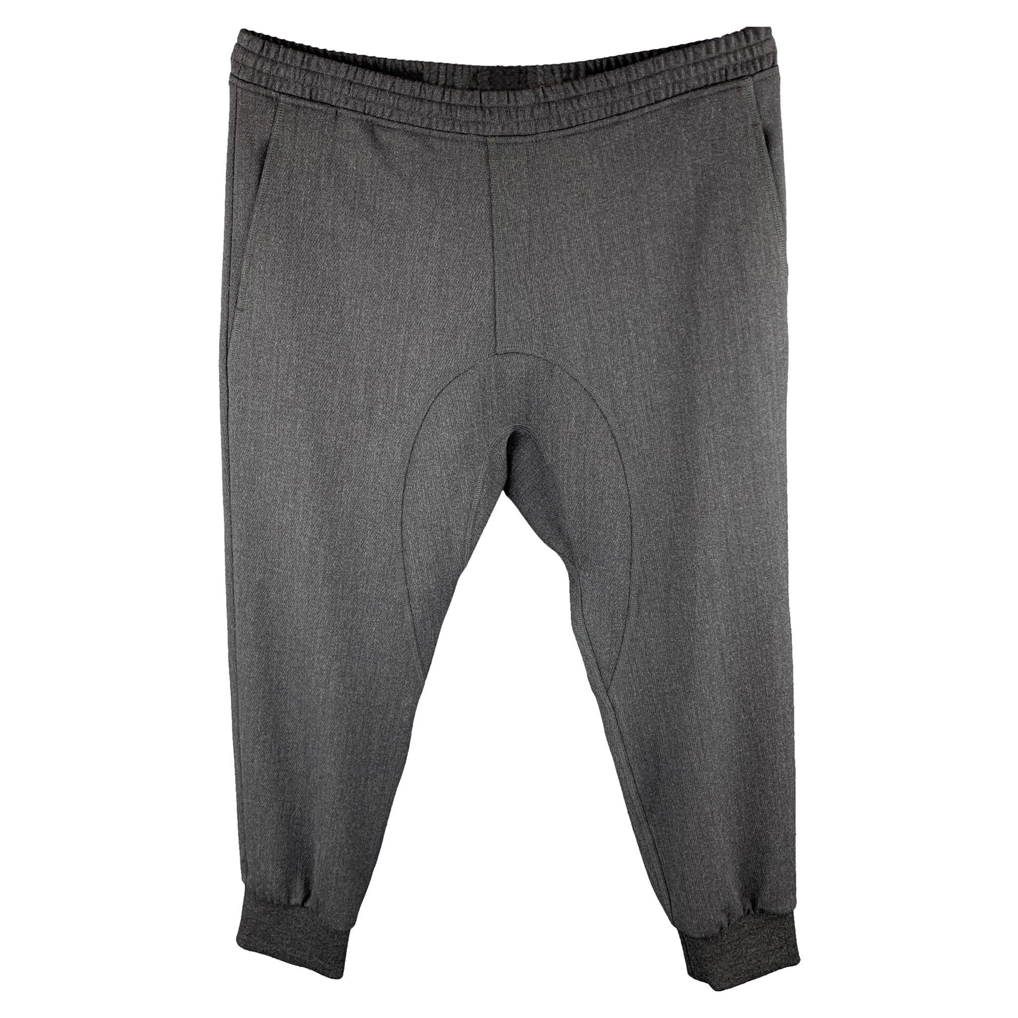 NEIL BARRETT Size 38 Charcoal Wool Blend Elastic Waistband Casual Pants