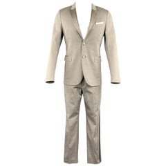 NEIL BARRETT Size 38 Light Gray Cotton / Elastane Peak Lapel Silk Trim Tuxedo