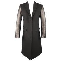 NEIL BARRETT Size 4 Black Virgin Wool Peak Lapel Leather Sleeve Coat