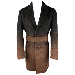 NEIL BARRETT Size 40 Black & Brown Ombre Textured Wool Blend Notch Lapel Belted