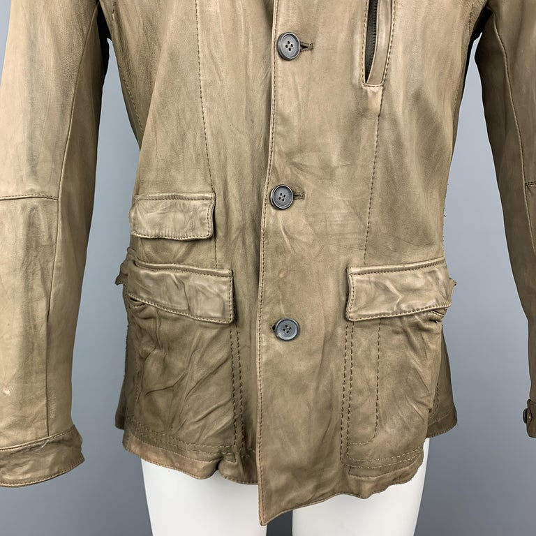 Brown NEIL BARRETT Size 40 Taupe Leather Buttoned Epaulet Jacket For Sale