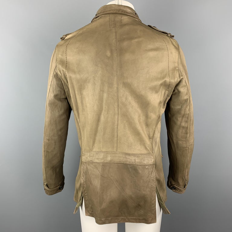 NEIL BARRETT Size 40 Taupe Leather Buttoned Epaulet Jacket In Good Condition For Sale In San Francisco, CA
