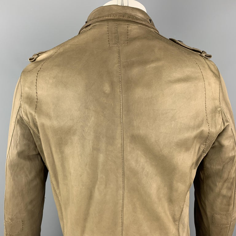 Men's NEIL BARRETT Size 40 Taupe Leather Buttoned Epaulet Jacket For Sale