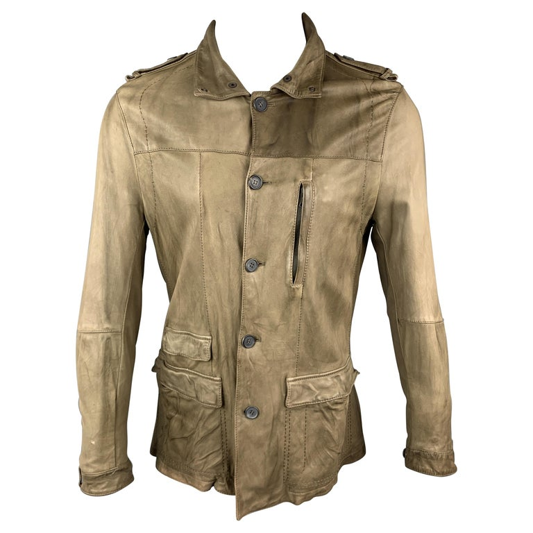 NEIL BARRETT Size 40 Taupe Leather Buttoned Epaulet Jacket For Sale
