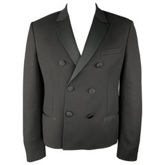 NEIL BARRETT Size 42 Black Satin Peak Lapel Double Breasted Sport Coat