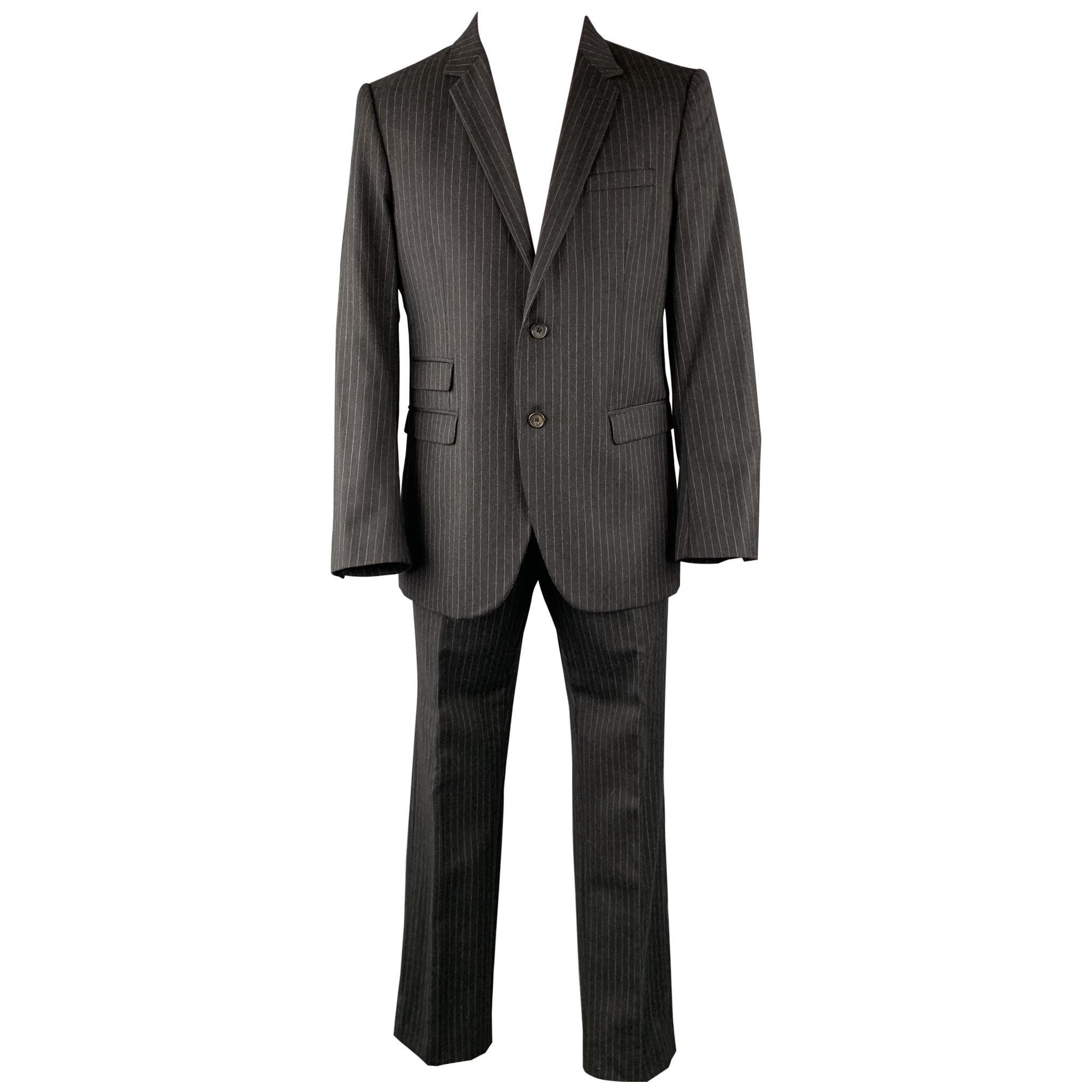 NEIL BARRETT Size 42 Regular Charcoal Stripe Wool Notch Lapel Suit