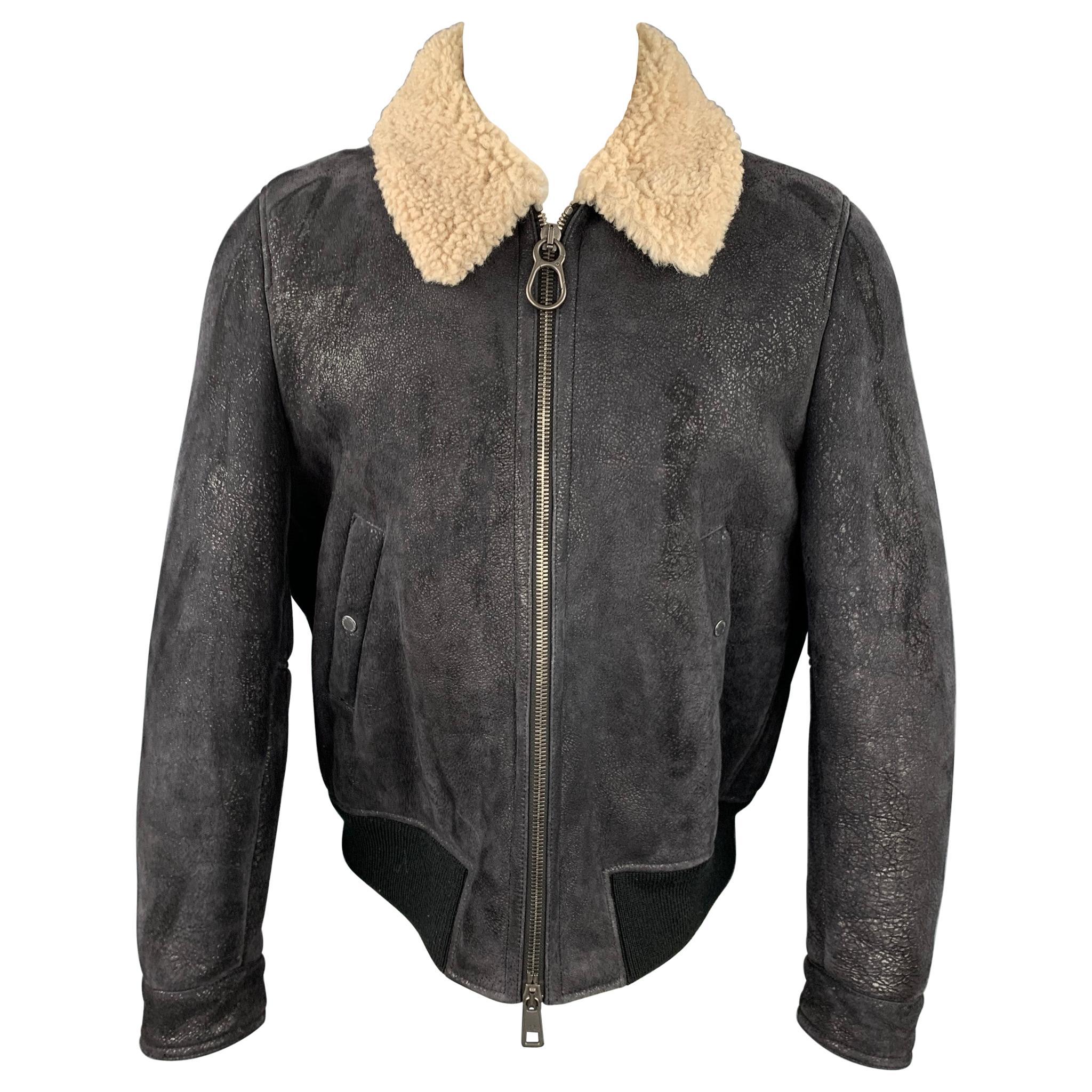 NEIL BARRETT Size L Black Textured Lambskin Zip Up Jacket
