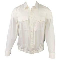 NEIL BARRETT Size L White Cotton Blend Elastic Waistband Long Sleeve Shirt