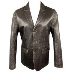 NEIL BARRETT Size M Brown Distressed Leather Notch Lapel Blazer